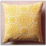 Vintage French gingham cushion cover in yellow and cream with zip fastening 35cm
