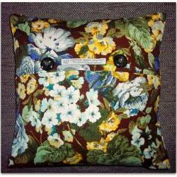 Vintage Sanderson Coppelia cushion cover in blue, yellow and green with button fastening 40cm