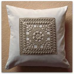 Luxury handmade fine mercerised cotton crochet panel cushion cover in stone and white 40cm