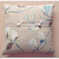 Presitigious Sayuri contemporary floral cotton fabric cushion cover with button fastening 45cm